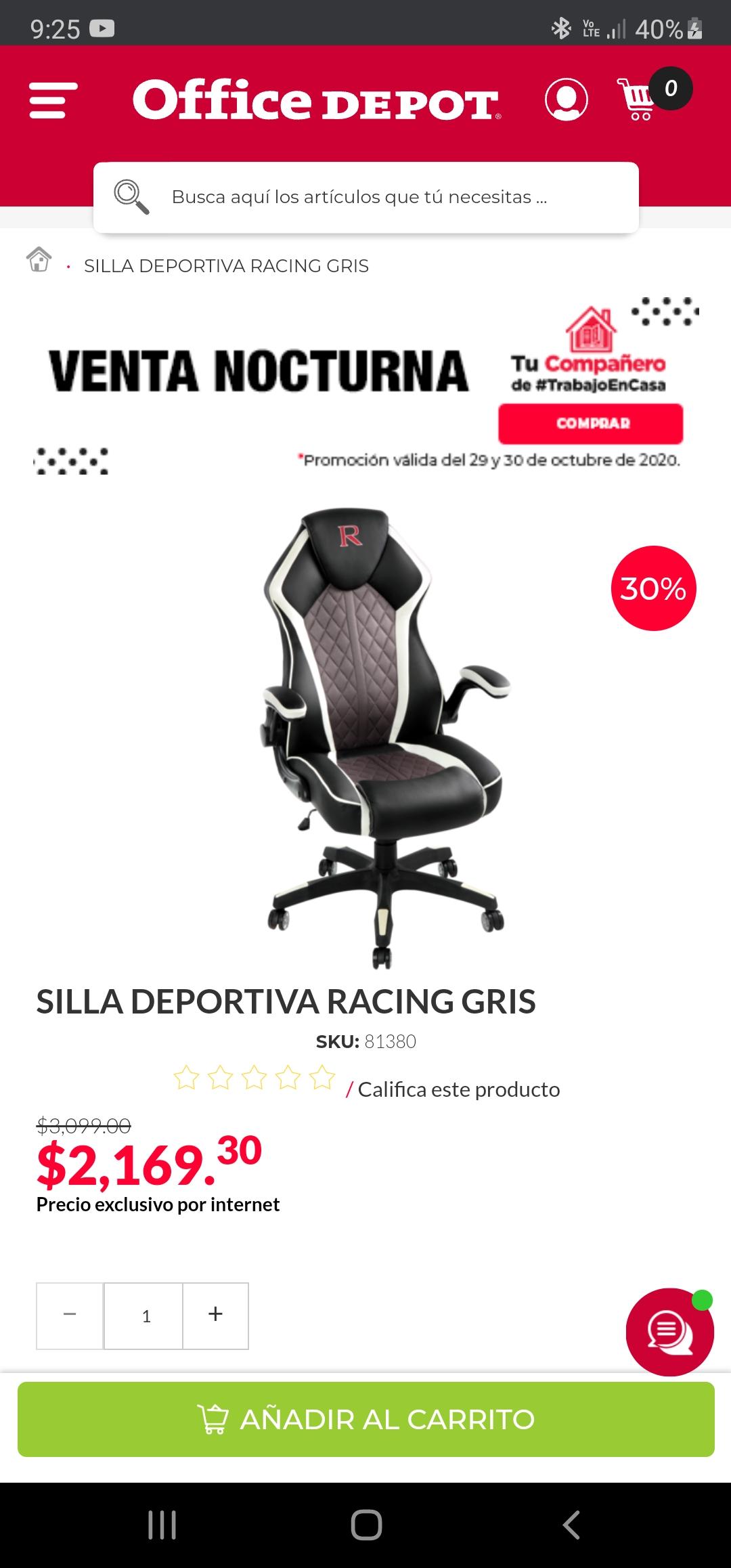 Office depot: Silla gamer racing