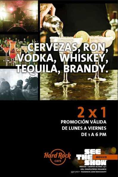 Hard Rock: 2x1 en bebidas de 1 a 6 pm (DF)