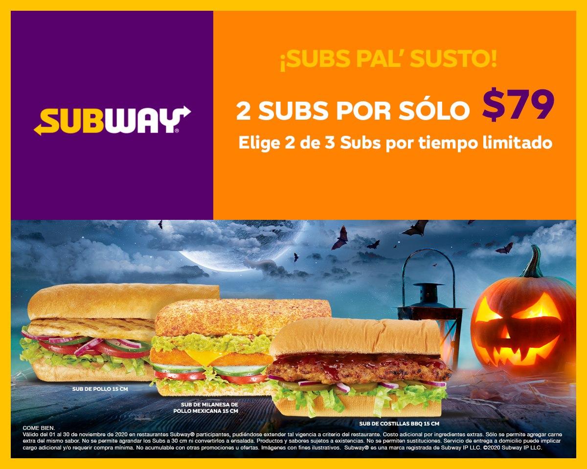Subway: 2 Subs 15cm por $79