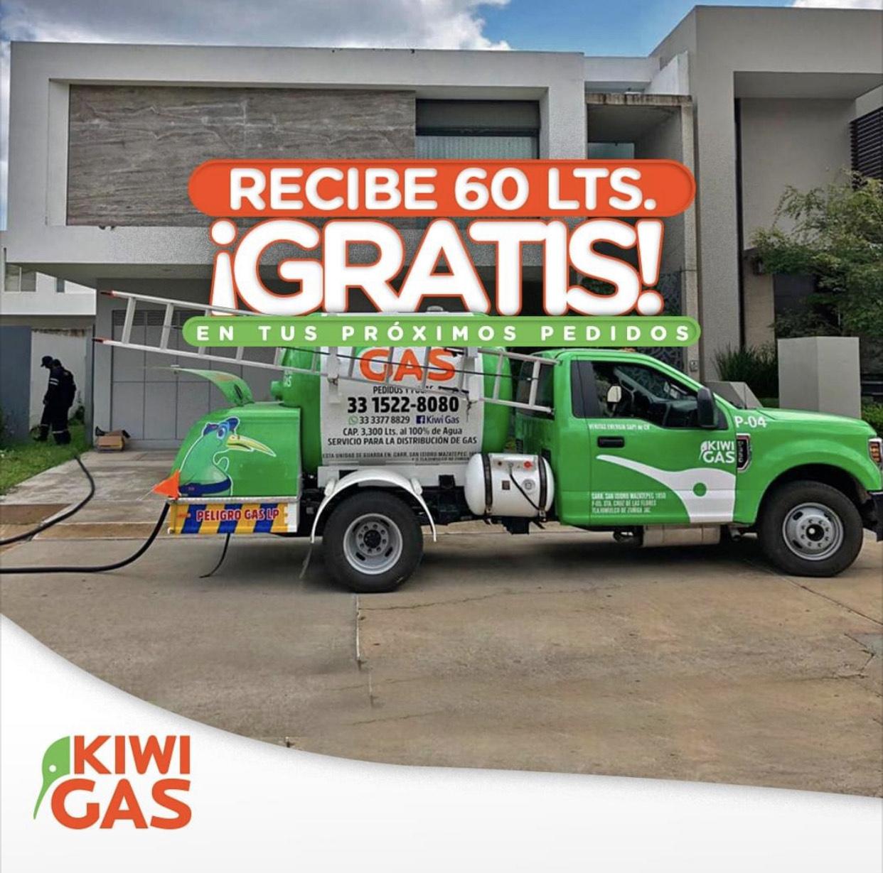 Kiwi Gas: 60 Litros de Gas Gratis