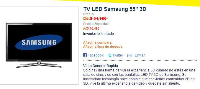 """Best Buy: pantalla LED Samsung 3D de 55"""" a $10,490 (¿error?)"""