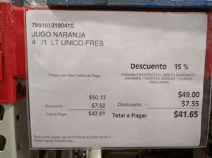 City Club: 4 litros de jugo unico fresco de Naranja en 41. 65