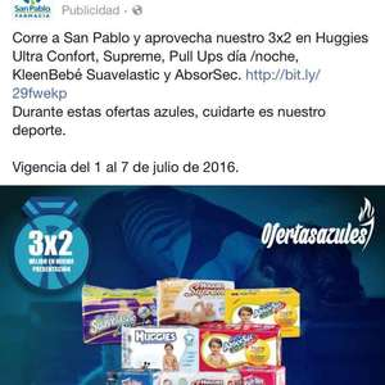 Farmacia San Pablo: 3 x 2 en pañales de varias marcas