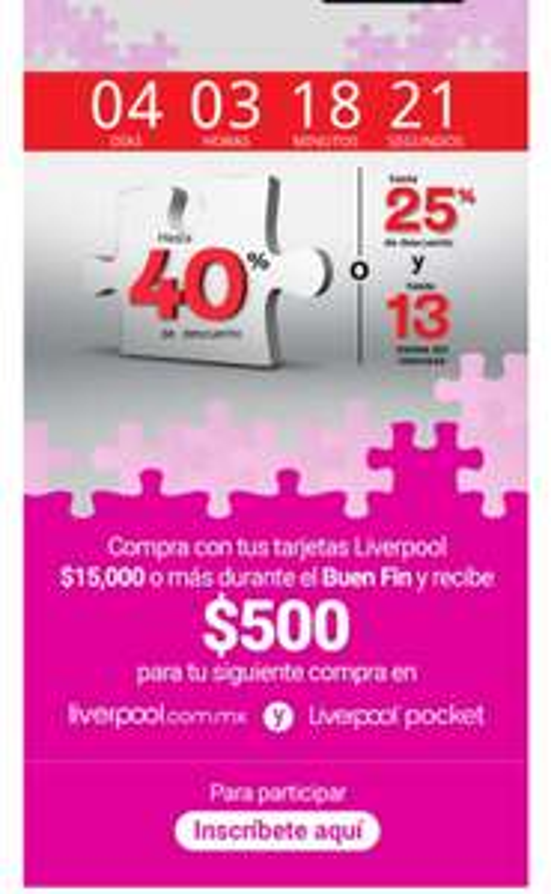 Buen Fin 2020 en Liverpool: Recibe $500 para tu siguiente compra en compras de $15000
