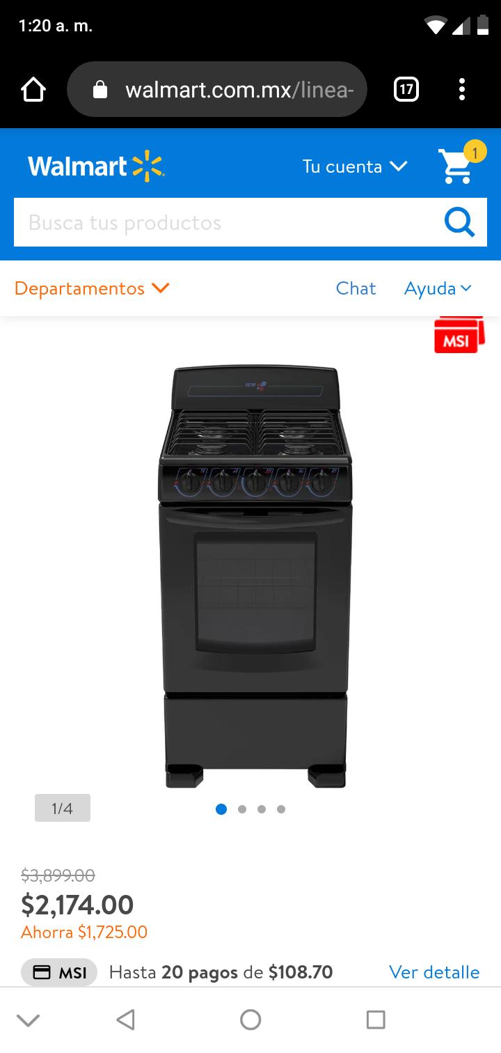 Walmart: Estufa iem con horno 4 quemadores