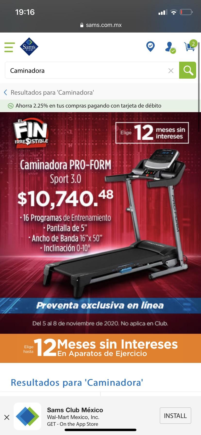 Sam's Club: Caminadora ProForm Sport 3