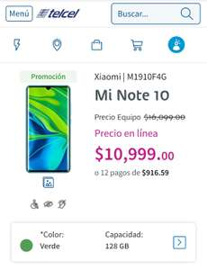 Telcel: Xiaomi Mi note 10 (version normal, no lite)