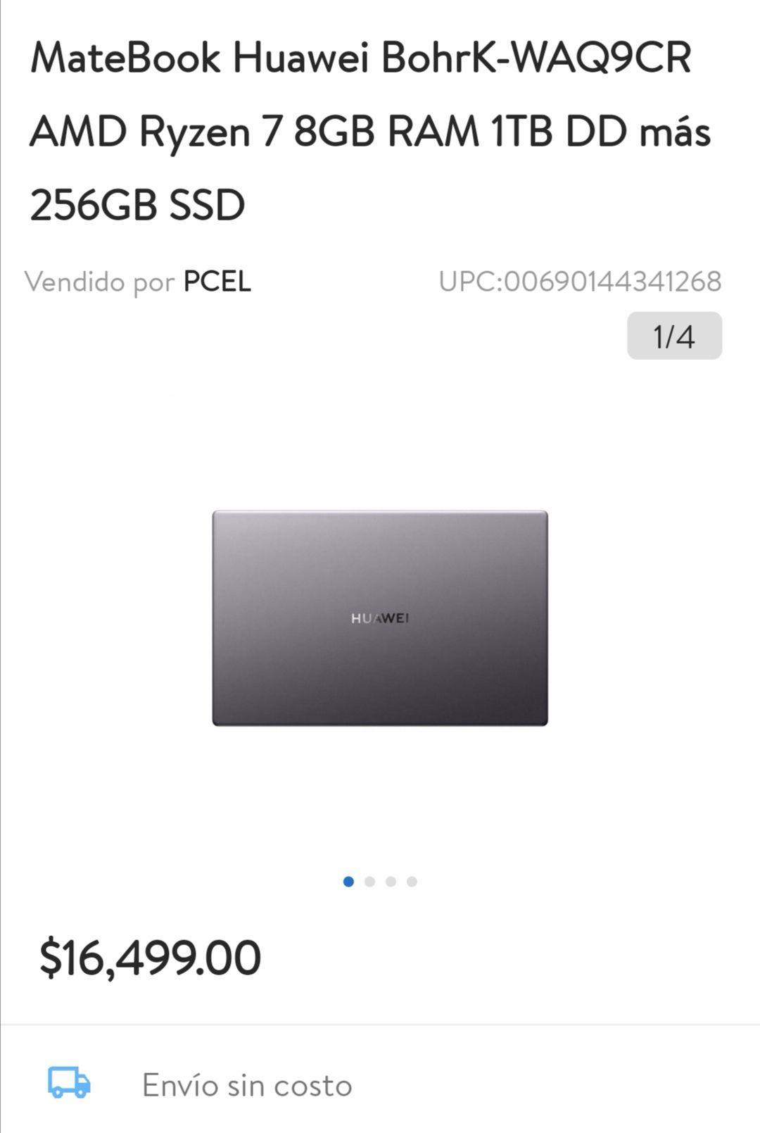 Walmart: Huawei Matebook D15 Ryzen 7 256ssd 1TB DD