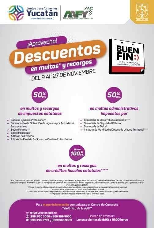 Recopilación descuentos del Buen fin en Yucatán (50% en multas, 100% en multas y recargos de agua,MSI, etc)