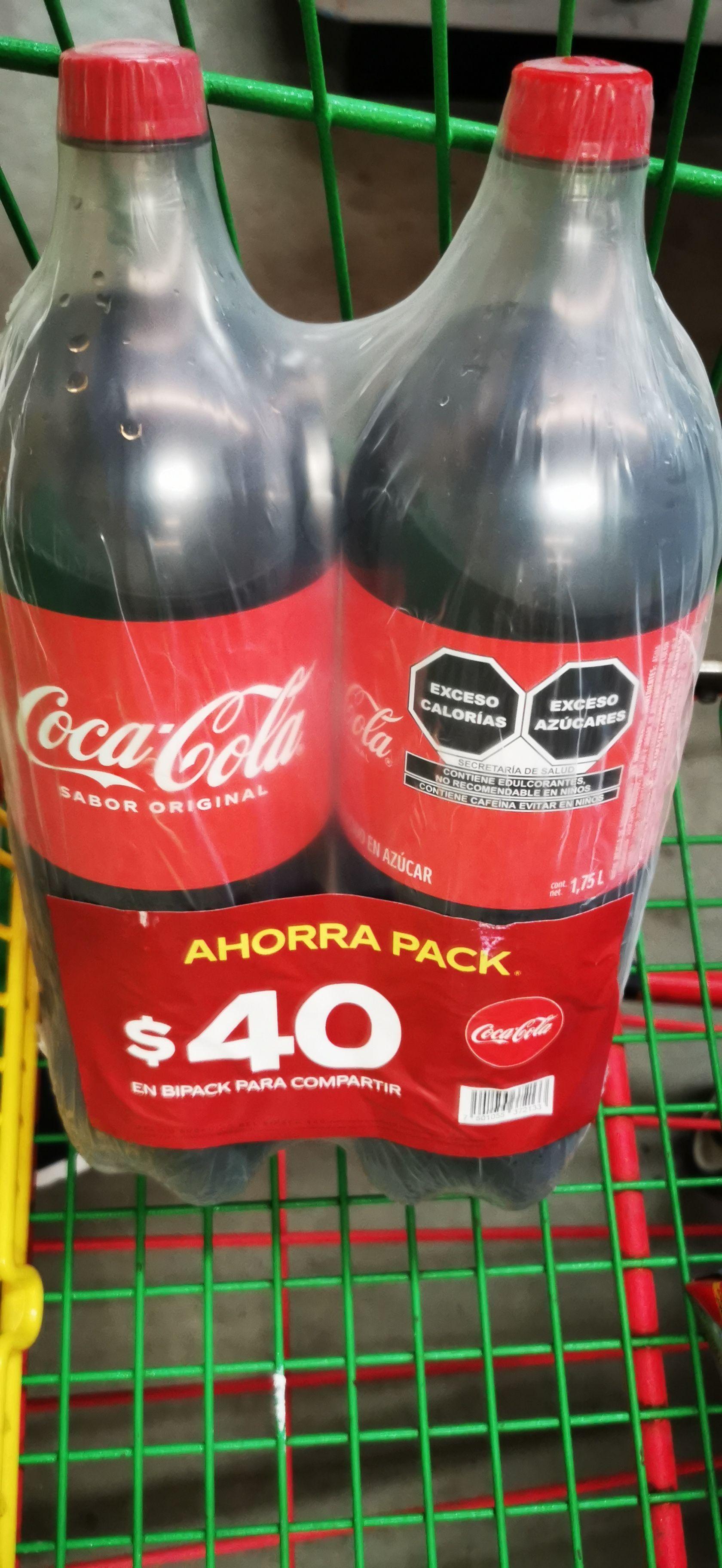 Bodega Aurrera : 2 refrescos Coca Cola 1.75