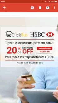 Clickbus: 20% descuento pagando con tarjetas de crédito HSBC