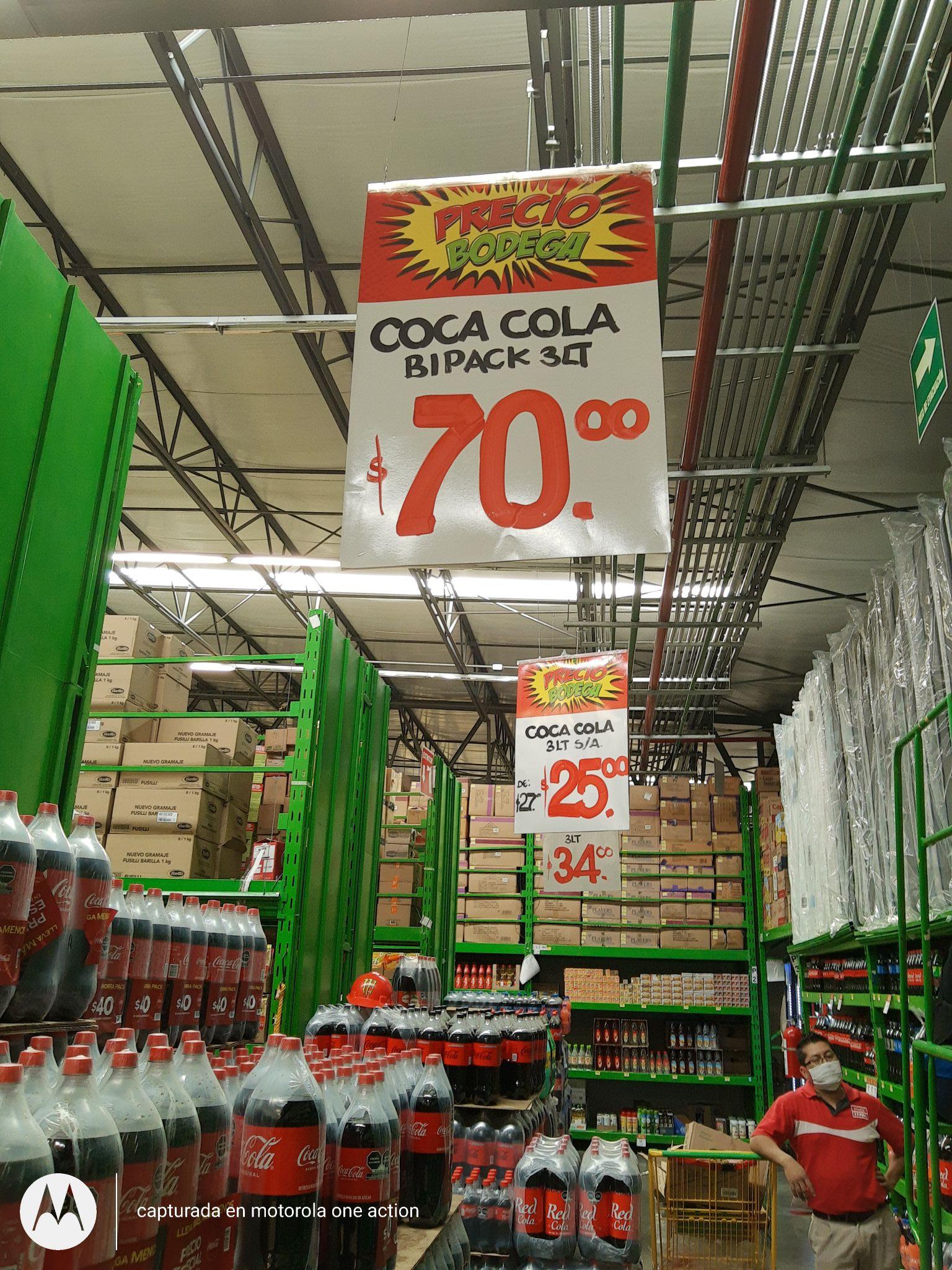 Bodega Aurrera 2pack coca cola 3 lts $70