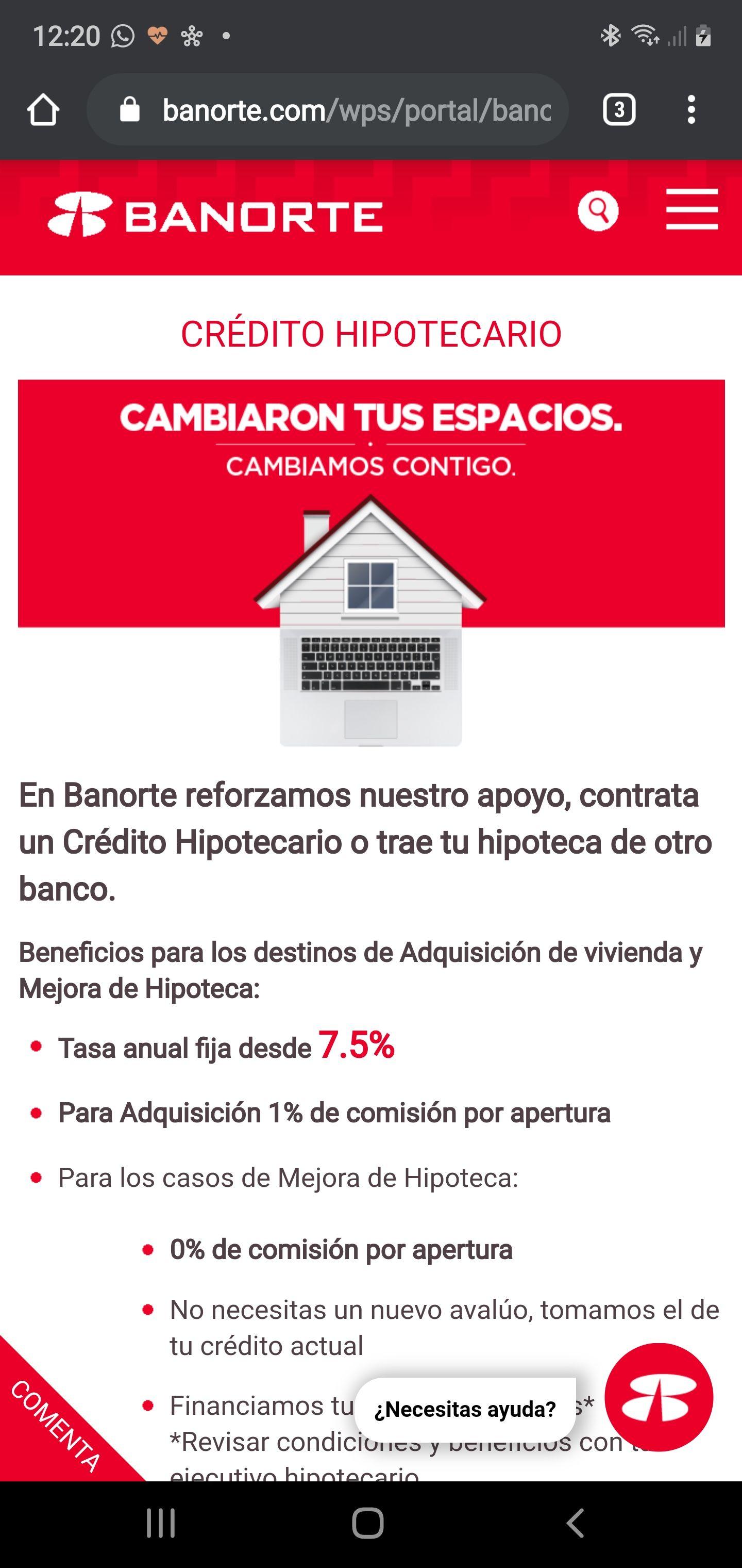 Banorte crédito hipotecario tasa anual 7.5%
