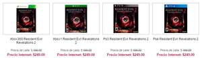 Sears en línea: Resident Evil Revelations 2 para 360, One, Ps3 y Ps4 y otros juegos más.