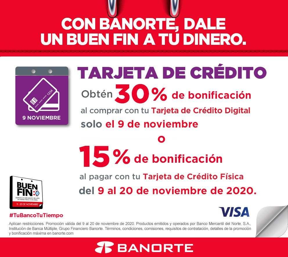 Buen Fin 2020 con Banorte: 30% de Bonificación pagando con TDC Digital (solo 9 de noviembre)
