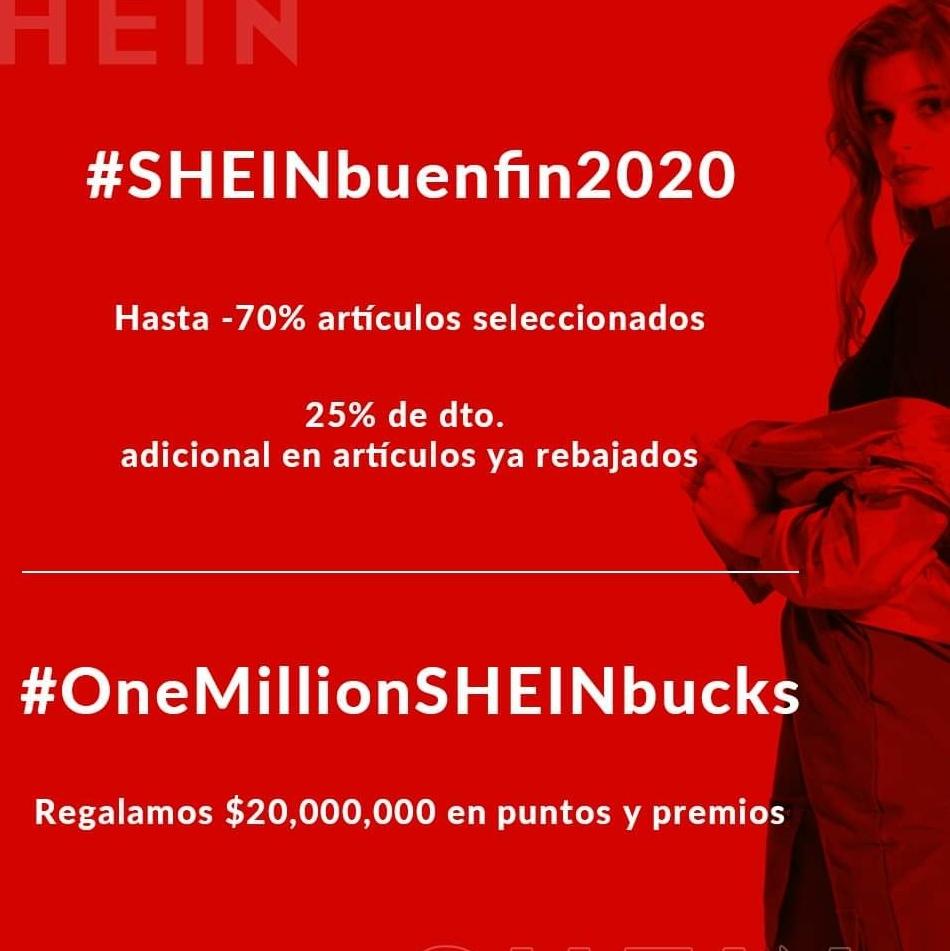 Shein: Buen Fin 2020 Shein: Hasta 70% en artículos seleccionados + 20% adicional a lo rebajado