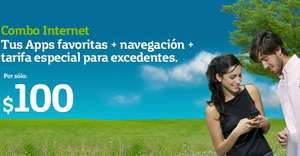 Combo Internet Movistar: Facebook, Twitter, mail y Whatsapp ilimitado y 100MB x $100
