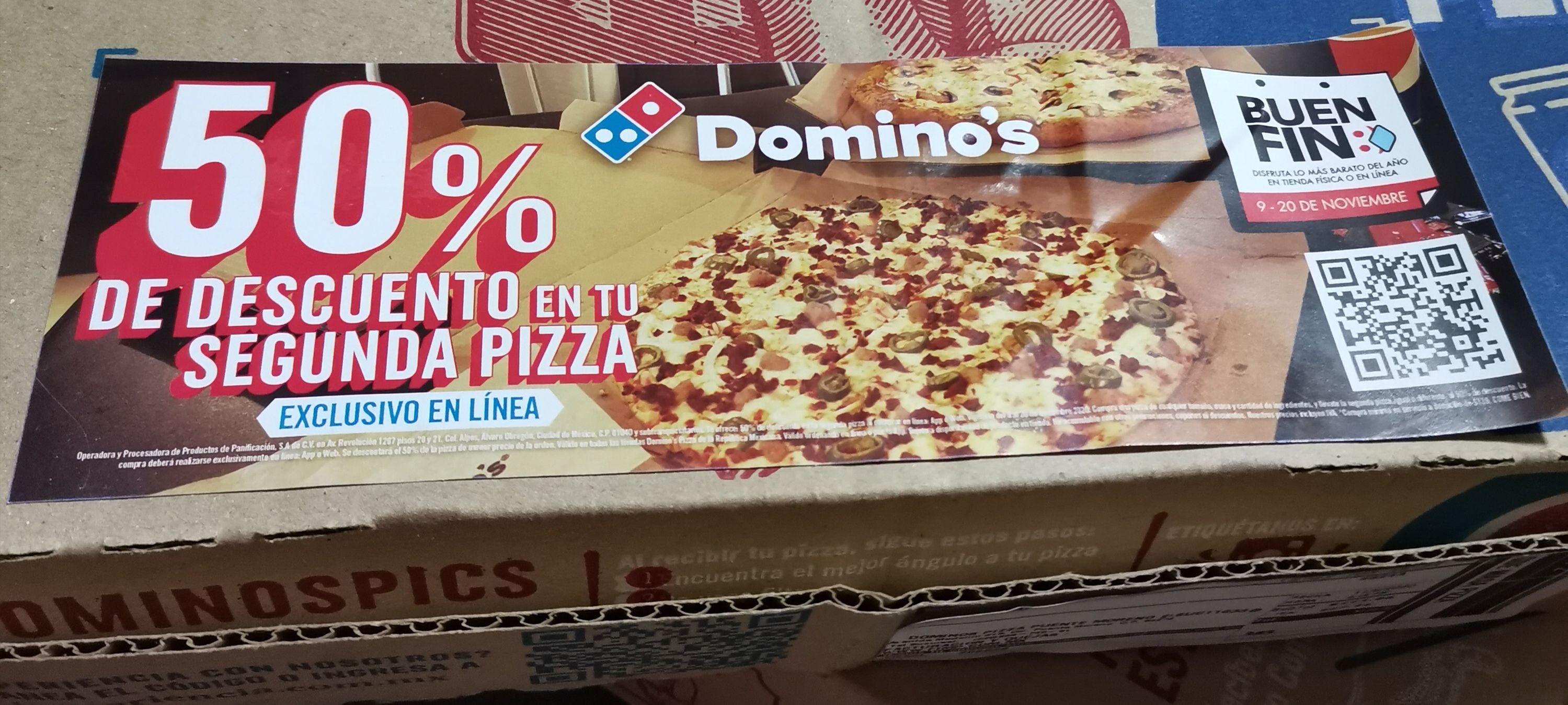 Domino's: 50% de descuento en tu segunda pizza exclusivo en línea.