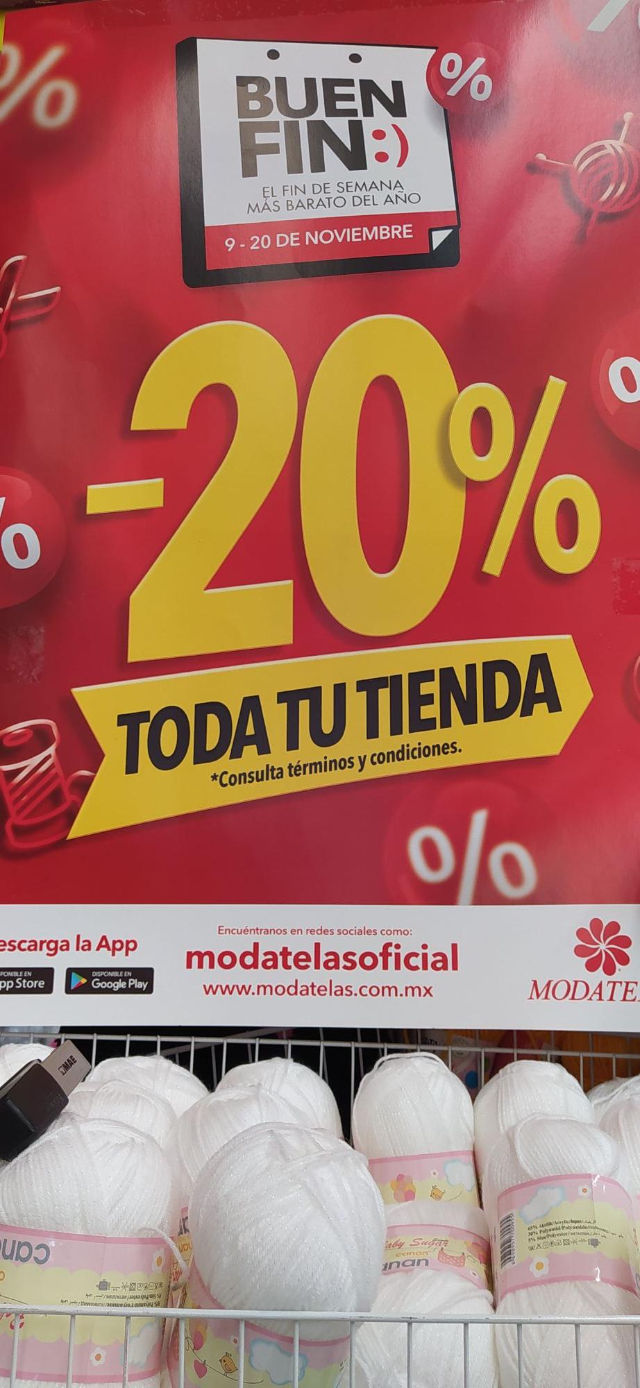 Buen Fin Modatelas: -20% de Descuento en toda la Tienda
