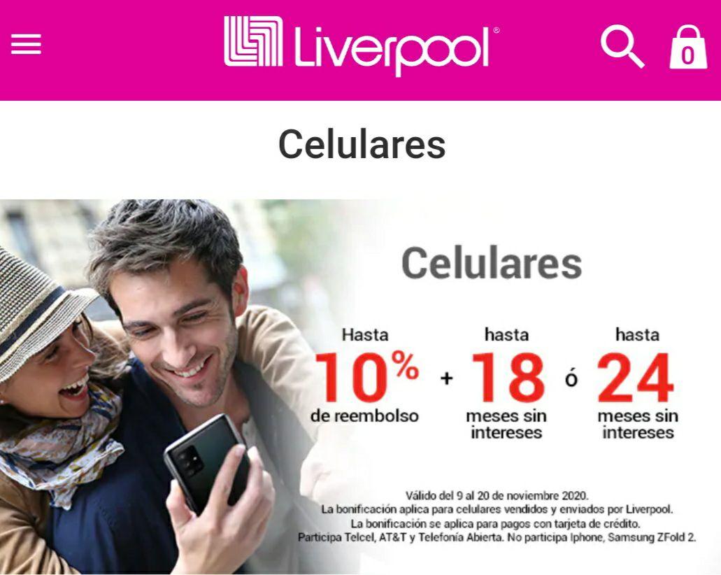 Liverpool: 10% de reembolso en Celulares