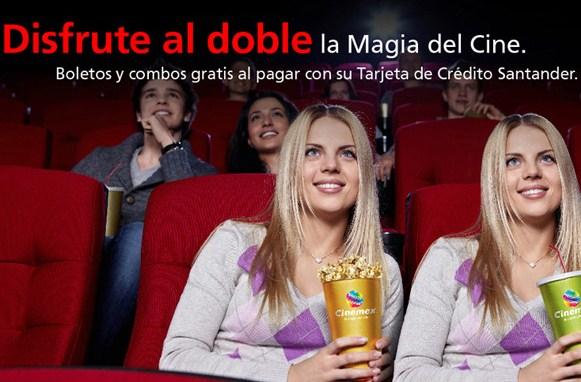 Cinemex: 2x1 en boletos y combo gratis con tarjetas Santander
