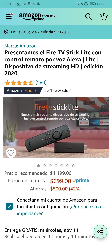 Amazon: fire tv stick lite 2020 (Con Alexa)