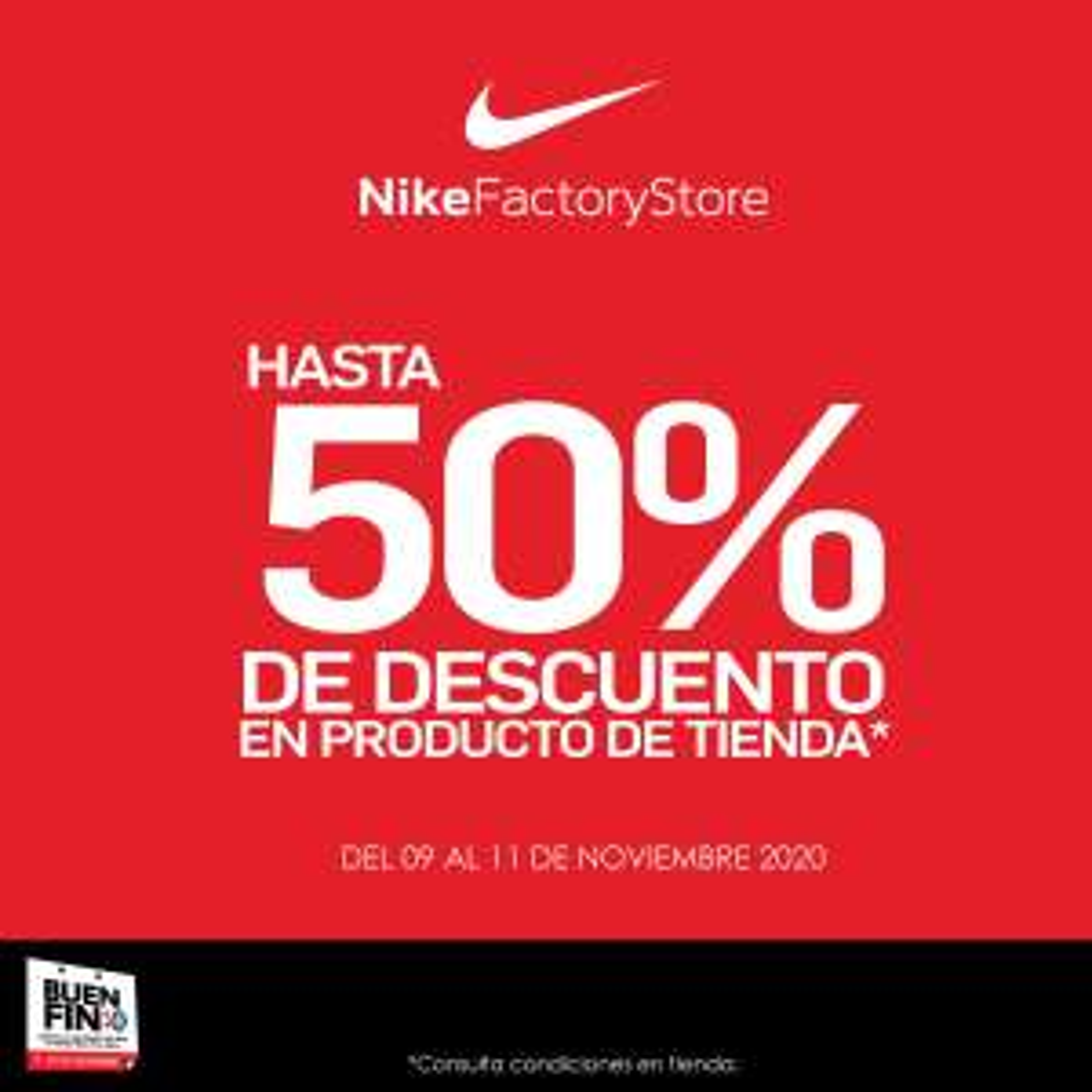 Buen fin Nike factory store: 50% de descuento