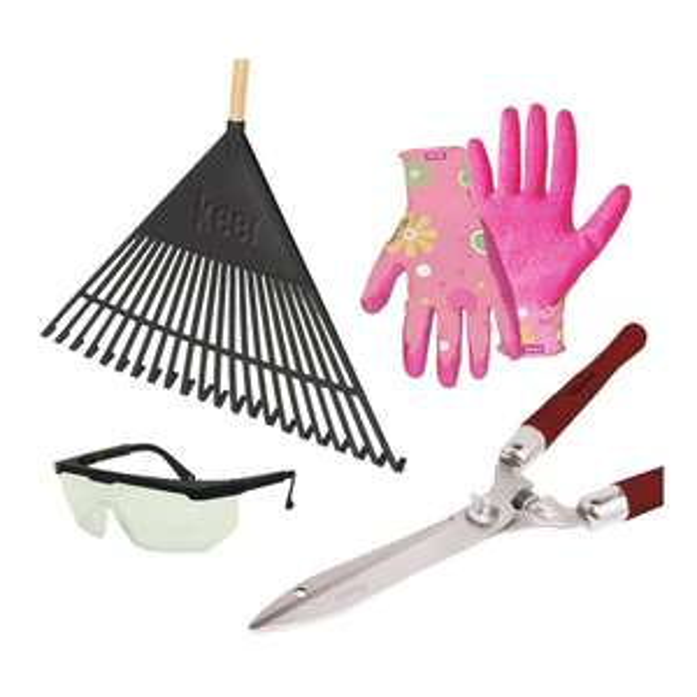 Walmart en línea: set de jardinería 4 piezas tijeras, rastrillo, guantes y lentes de protección