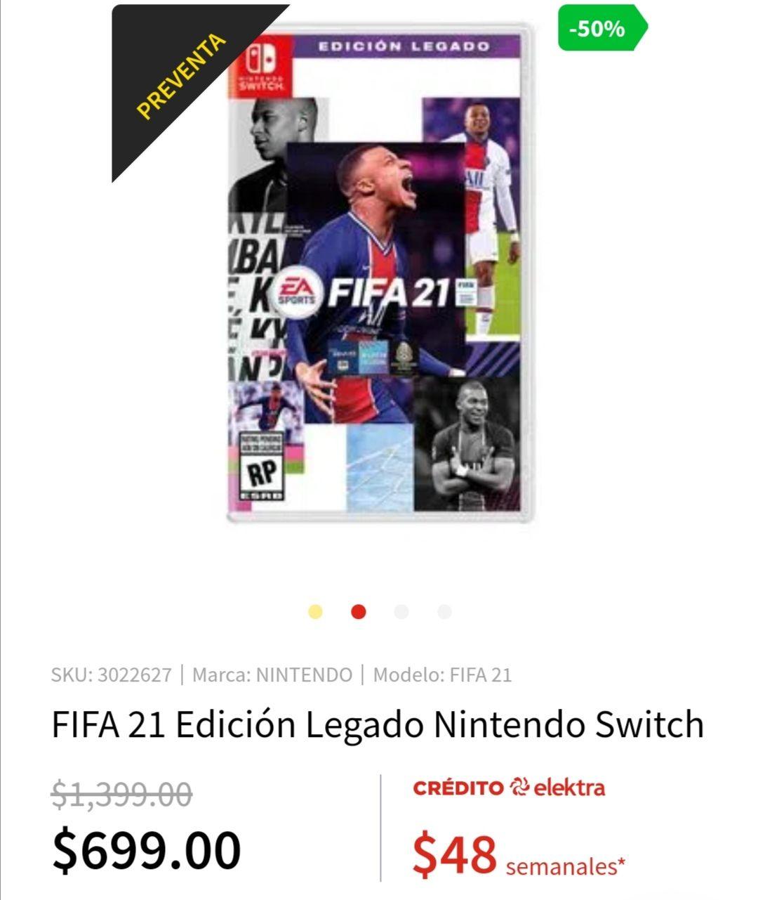 Elektra: Fifa 21 para nintendo switch