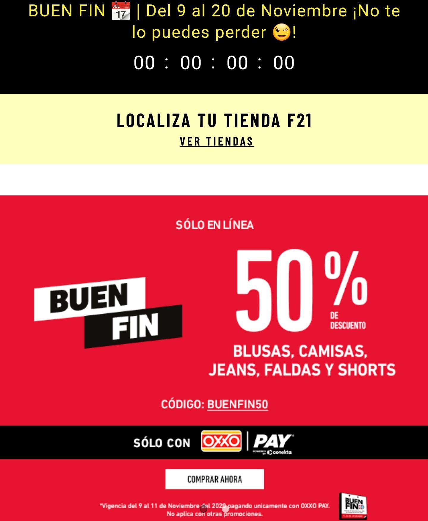 Ofertas Buen Fin 2020 Forever21: 50% Utilizando cupón BUENFIN50 y Oxxo Pay