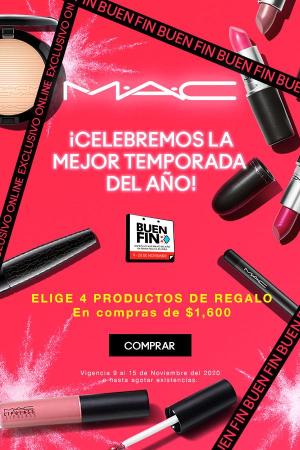 Ofertas Buen Fin 2020 MAC: 4 productos fullsize de regalo en la compra de $1,600
