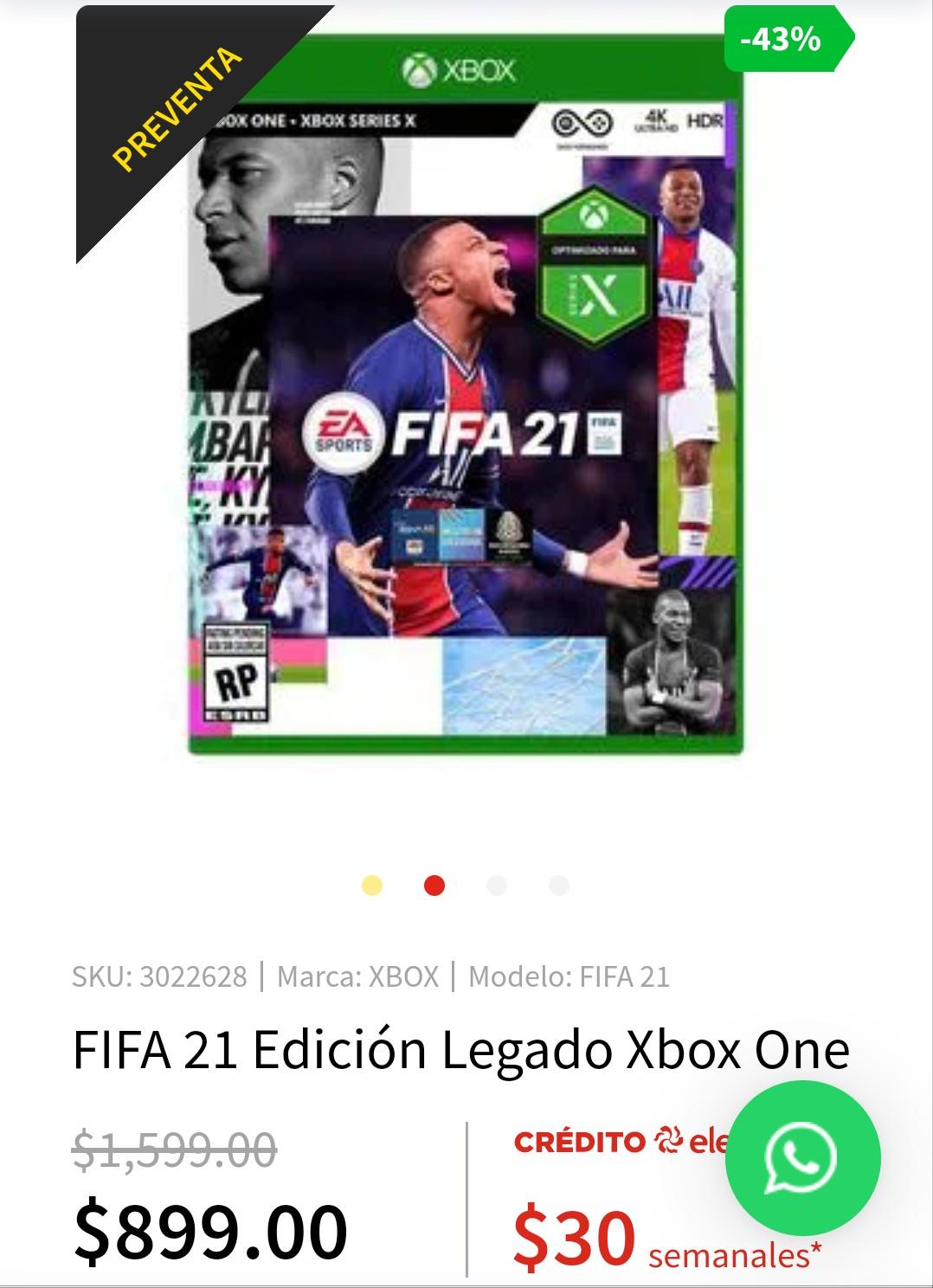 """Elektra FIFA 21 XBOX ONE """"Edición Legado"""""""