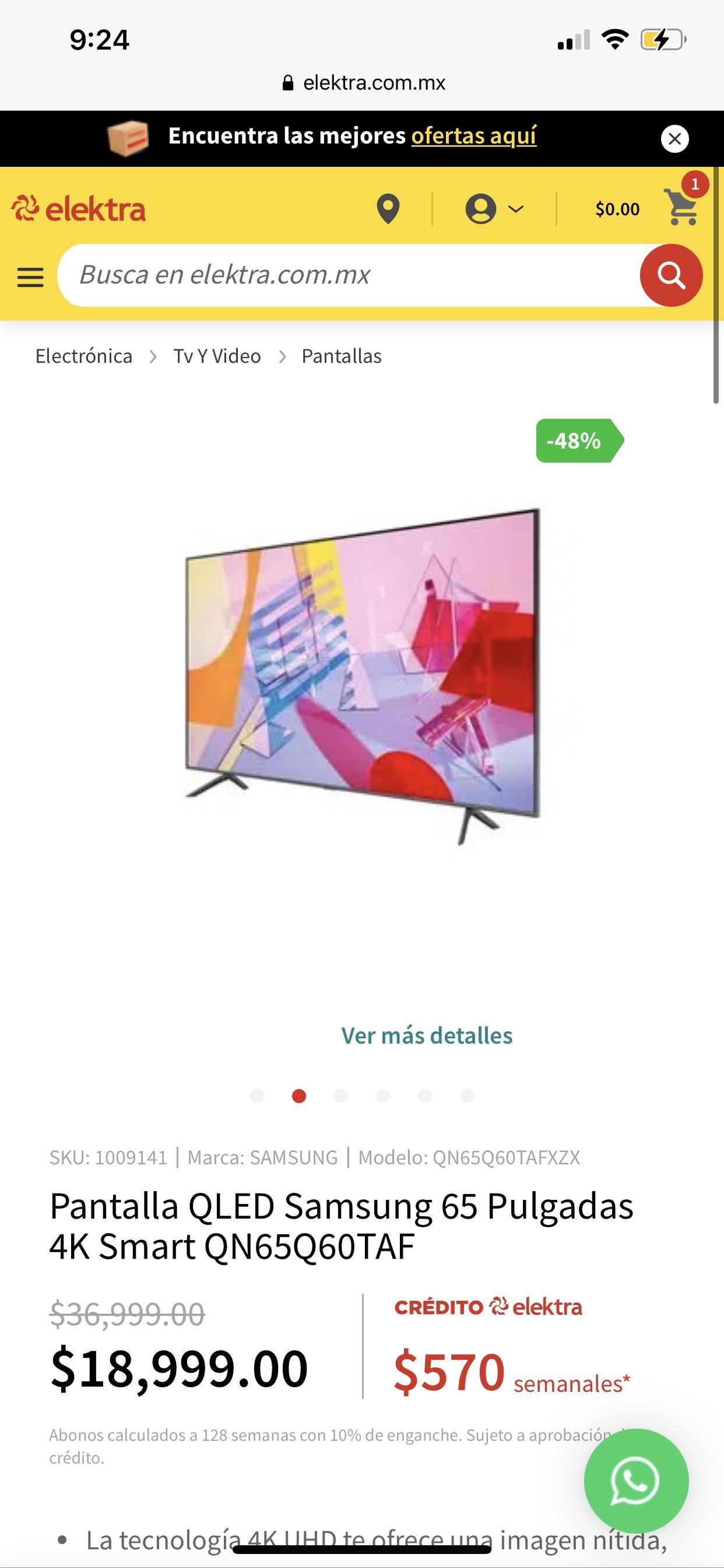 Elektra: Pantalla QLED Samsung 65 Pulgadas 4K Smart QN65Q60TAF