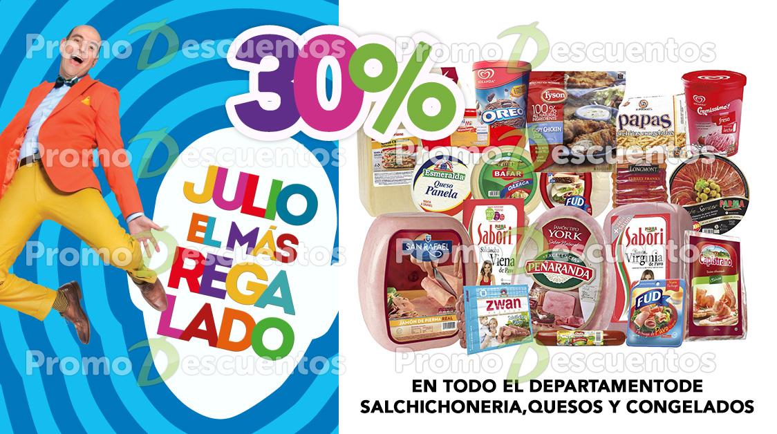 Promoción de Julio Regalado 2016 en Soriana y Comercial Mexicana: 30% en salchichoneria, quesos y congelados