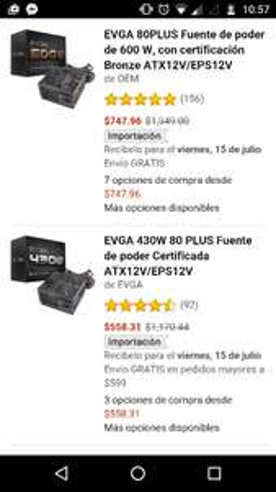 Amazon: fuentes de poder EVGA varios descuentos