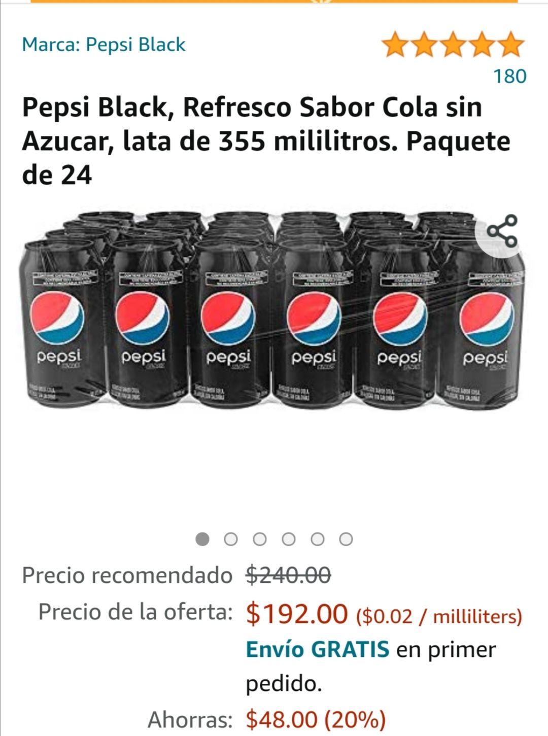 Amazon : Pepsi black 355 ml 24 pzas