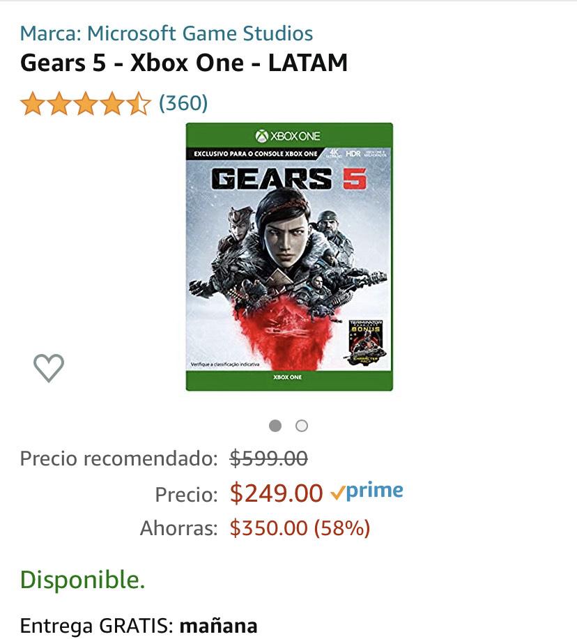 Amazon: Gears of War 5 para Xbox envió gratis con prime