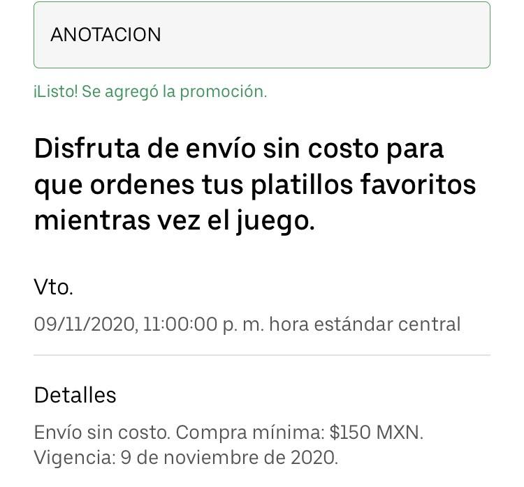Uber eats cupón Envío gratis