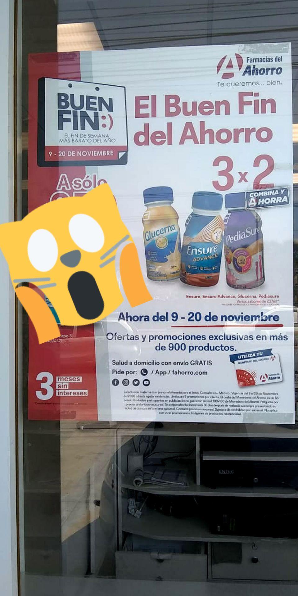 Farmacias del Ahorro BUEN FIN: 3x2 en Ensure Adv., Glucerna y Pediasure