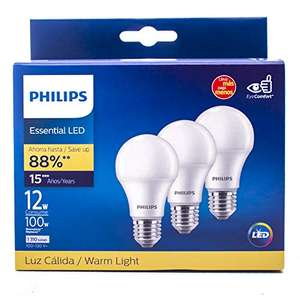Amazon: Philips Set 3 Focos LED luz cálida A19 12W(100W)