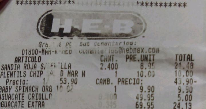 HEB unidad nacional CD madero: espinaca orgánica $9.90