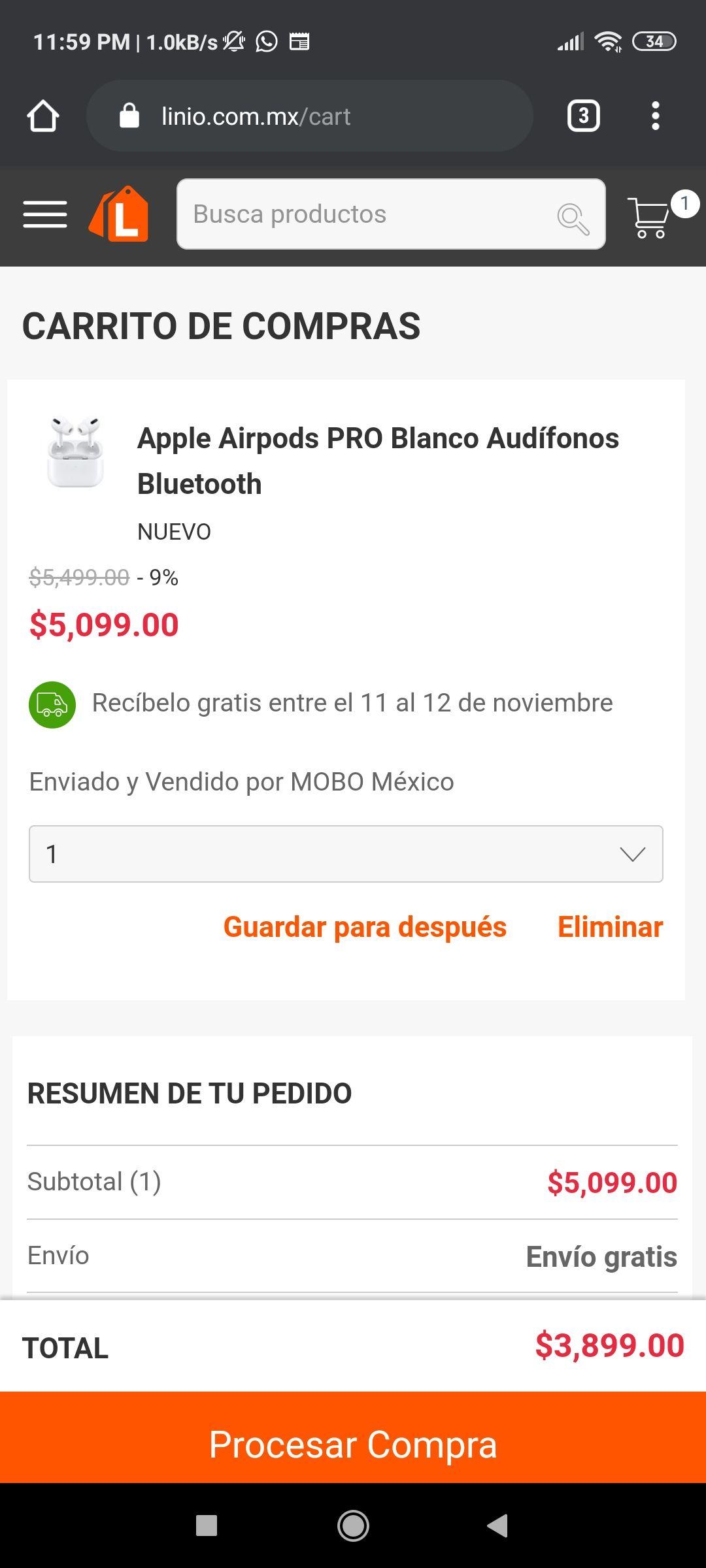 Linio Airpods Pro $3,899 pagando con Scotiabank Debito