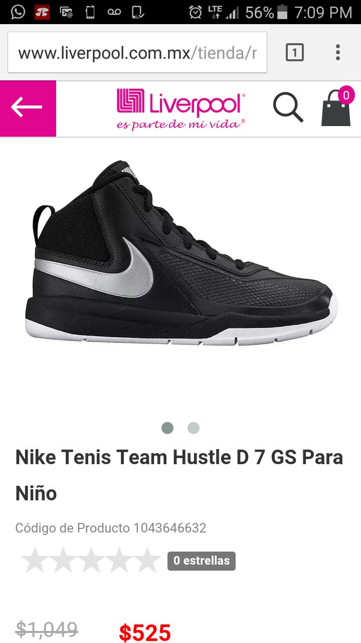 Liverpool: tenis Nike Team Hustle Negro 23 o 24