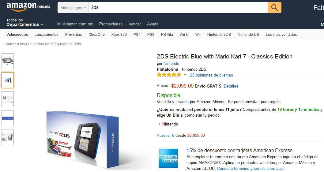 AMAZON MX: Consola Nintendo 2DS Azul Electrico con Mario Kart 7 a $2100 ($1784.15 si pagas con tarjeta American Express)