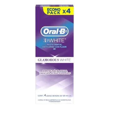 Sam's Club: Pasta Dental Oral-B 3D White Glamourous 4 pzas de 120 ml c/u