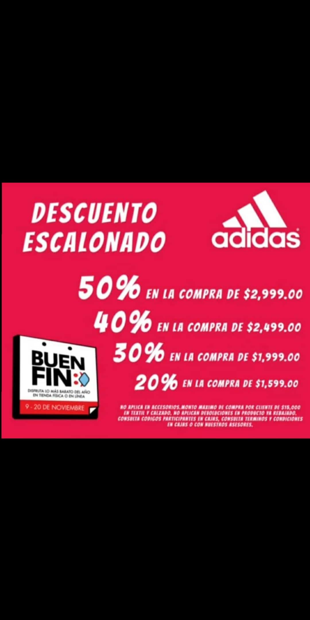 Adidas outlet descuento escalonado hasta el 50%