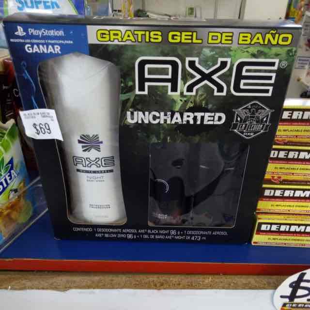 Farmacia Yza:  2 desodorantes axe y gel para baño en $69