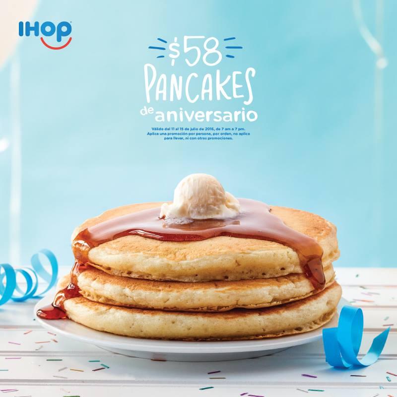 Ihop: 58 Aniversario 3 Buttermilk Pancakes por $58 pesos