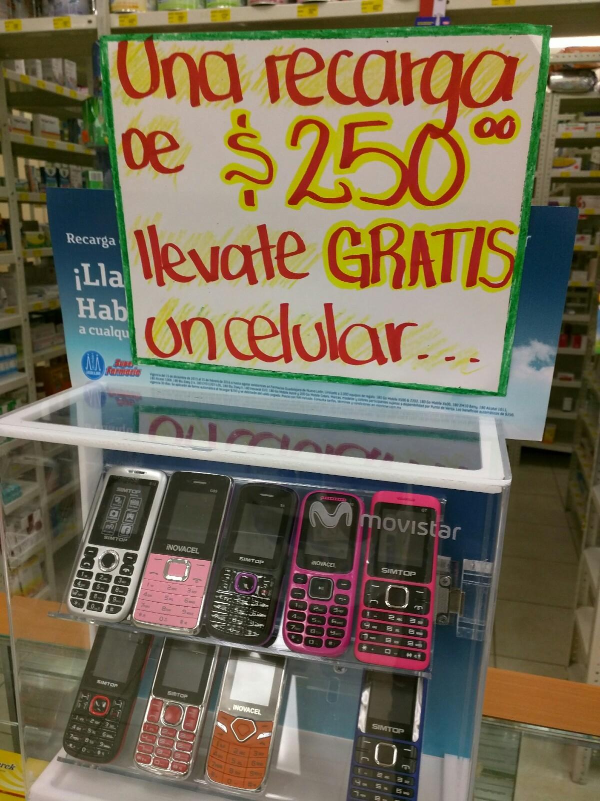 Farmacias Guadalajara: Celular gratis en recargas de $250