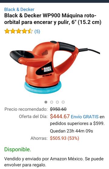 """Amazon: Black & Decker WP900 Máquina roto-orbital para encerar y pulir, 6"""" (15.2 cm)"""